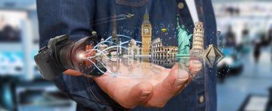 Reisender Mann die Welt mit seiner Digitalkamera Stockbilder