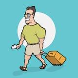 Reisender Mann geht mit Tasche Stockbild