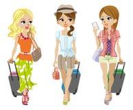 Reisender mit drei Mädchen, lokalisiert Stockbild