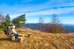 Reisender mit einem Rucksack sitzt auf einem Baumstumpf und bewundert autum Lizenzfreies Stockfoto