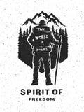 Reisender und Natur Hand gezeichnetes Emblem Stockbild