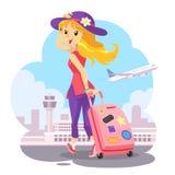 Reisendes Mädchen mit rosa Rollkoffer Lizenzfreies Stockbild
