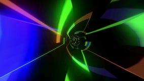 Reisendes schnelles Innere in einem futuristischen Tunnel voll mit bunten Lichtern stock video