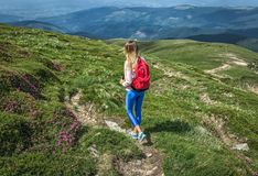 Reisendmädchen mit rotem Rucksack geht entlang grünen Weg in den Bergen Sommer- oder Frühlingsblumenrue stockfotografie
