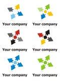Reisenfirmazeichen mit vier Pfeilen Stockbild