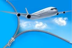 Reisenhintergrund mit Flugzeug und weißen Wolken vektor abbildung