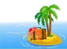 Reisenhintergrund, -palme und -koffer Lizenzfreie Stockbilder