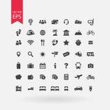 Reisenikonen eingestellt Tourismus kennzeichnet Ansammlung Feriensymbole auf weißem Hintergrund Flache Designart Stockfoto
