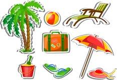 Reisenikonen, Palme, Kugel, Aufenthaltsraum vektor abbildung