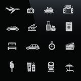 Reisenikonen weiß auf schwarzem Bildschirm Stockbild