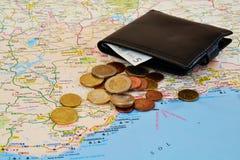 Reisenkarte und -bargeld Stockbilder