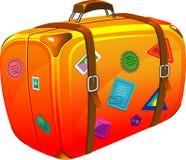 Reisenkoffer mit Aufklebern Stockfotos