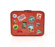 Reisenkoffer mit Aufklebern Lizenzfreies Stockfoto