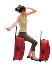 Reisenmädchen Hitchhike Lizenzfreie Stockfotos