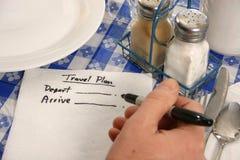 Reisenplan auf einer Serviette Stockbild