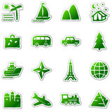 Reisenweb-Ikonen, grüne Aufkleberserie Lizenzfreies Stockfoto