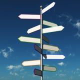 Reisenzeichen, das in alle Zieleinheiten zeigt Lizenzfreies Stockfoto