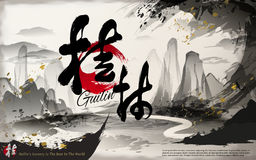 Reiseplakat Chinas Guilin lizenzfreie abbildung