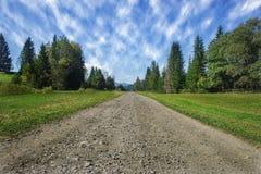 Reisestraße auf dem Feld mit grünem Gras und blauem Himmel mit Wolken auf dem Bauernhof am sonnigen Tag des schönen Sommers Saube lizenzfreies stockfoto