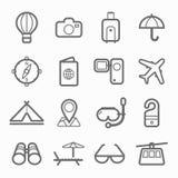 Reisesymbollinie Ikonensatz Stockfoto