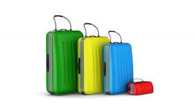 Reisetaschen auf weißem Hintergrund Getrennte 3d übertragen stock video