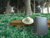 Reisetaschen- und -hutnahaufnahmetourismus-Ferienkonzept Stockbild