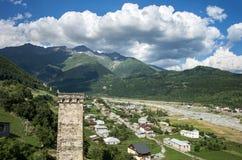 Reisetourismus-Konzeptfoto Georgia/Svaneti/Mestia lizenzfreie stockbilder