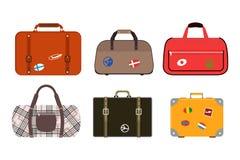 Reisetourismus-Modegepäck oder Verpackungsaktenkoffer- und -reisebestimmungsort des Gepäckferiengriffleders großer umkleiden Tasc Lizenzfreie Stockfotos