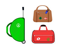 Reisetourismus-Modegepäck oder Verpackungsaktenkoffer- und -reisebestimmungsort des Gepäckferiengriffleders großer umkleiden Tasc Lizenzfreies Stockbild