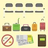 Reisetourismusmodegepäck und -ferien behandeln lederne große Verpackungsaktenkofferreise-Bestimmungsorttasche auf Radvektor Stockfotografie