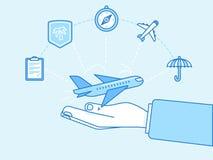 Reiseversicherungskonzept - Illustrations- und infographicsdesign Lizenzfreie Stockbilder