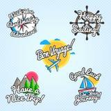 Reisewünsche und -grüße eingestellt Vector Illustration für touristische Grußkarten, Broschüren, Poster Stockbilder