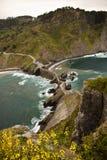 Reiseziel auf atlantischer Küste von San Juan de Gaztelugatxe, baskisches Land, Spanien Lizenzfreies Stockbild