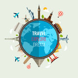 Reisezusammensetzung mit berühmten Weltmarksteinikonen Vektor Lizenzfreies Stockbild