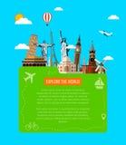 Reisezusammensetzung mit berühmten Weltmarksteinikonen Vektor Lizenzfreies Stockfoto