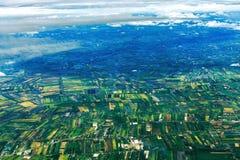 Reisfeld von oben Stockfotos