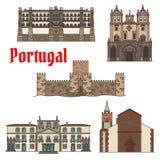 Reisgezicht van de Portugese reeks van het architectuurpictogram stock illustratie