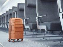 Reiskoffer bij het vliegtuig het 3d teruggeven Royalty-vrije Stock Afbeelding