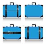 reiskoffer in blauwe illustratie wordt geplaatst die Stock Foto's
