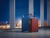 Reiskoffers bij de luchthaven met grote vensters op de achtergrond het 3d teruggeven Stock Fotografie