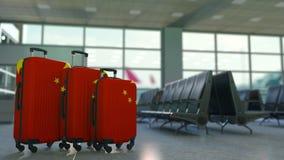 Reiskoffers die vlag van China kenmerken r royalty-vrije illustratie