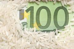 Reiskörner auf Banknote Stockfotografie