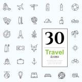 30 reispictogrammen stock illustratie