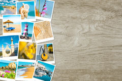 Reispolaroids van Portugal op hout, tekstruimte Royalty-vrije Stock Foto's