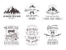 Reisprentbriefkaaren Reeks toerismebanners met hand-van letters voorziende citaten Royalty-vrije Stock Foto's
