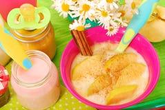Reispudding mit mit Apfel und Zimt für Schätzchen Lizenzfreies Stockbild