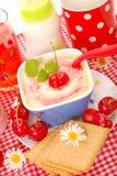 Reispudding mit mit Kirsche für Schätzchen Lizenzfreie Stockfotos