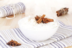 Reispudding, süßer Nachtisch. lizenzfreies stockfoto