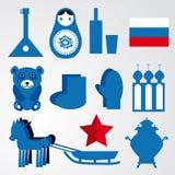 Reisreeks van diverse gestileerde Russische pictogrammen zwarte, blauwe, rode illustratie Stock Fotografie