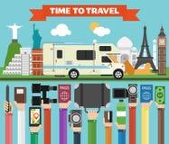 Reissamenstelling met beroemd wereld modern vlak ontwerp met kampeerauto, aanhangwagen vector illustratie
